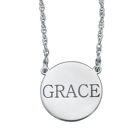 Personalized Name Disk Necklace, One Size , White