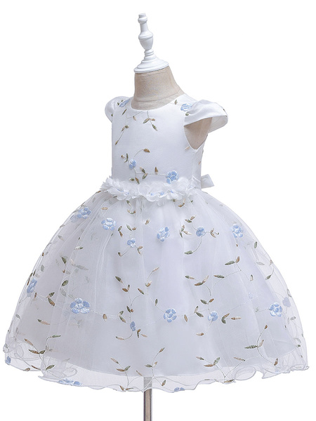 Milanoo Baby Flower Girl Dresses Princess Knee Length Embroidery Dresses