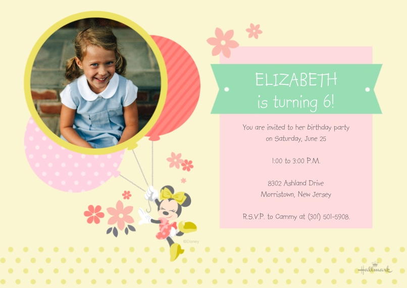 Kids Birthday Party Invites 5x7 Cards, Premium Cardstock 120lb with Scalloped Corners, Card & Stationery -Minnie Mouse Sweet Balloons