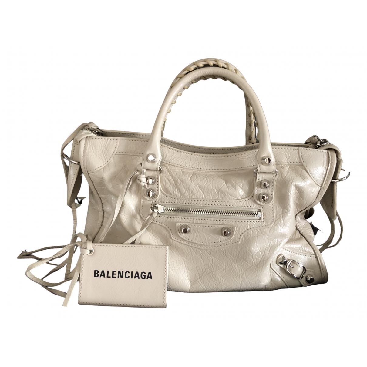 Balenciaga City Ecru Leather handbag for Women \N