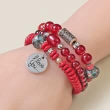 3pcs Disc Charm Beaded Bracelet
