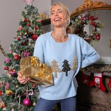 Christmas Pearls Beaded Sequin Tree Front Sweater