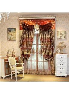 Shining Golden Embroidery Royal Design Custom Grommet Sheer Curtain