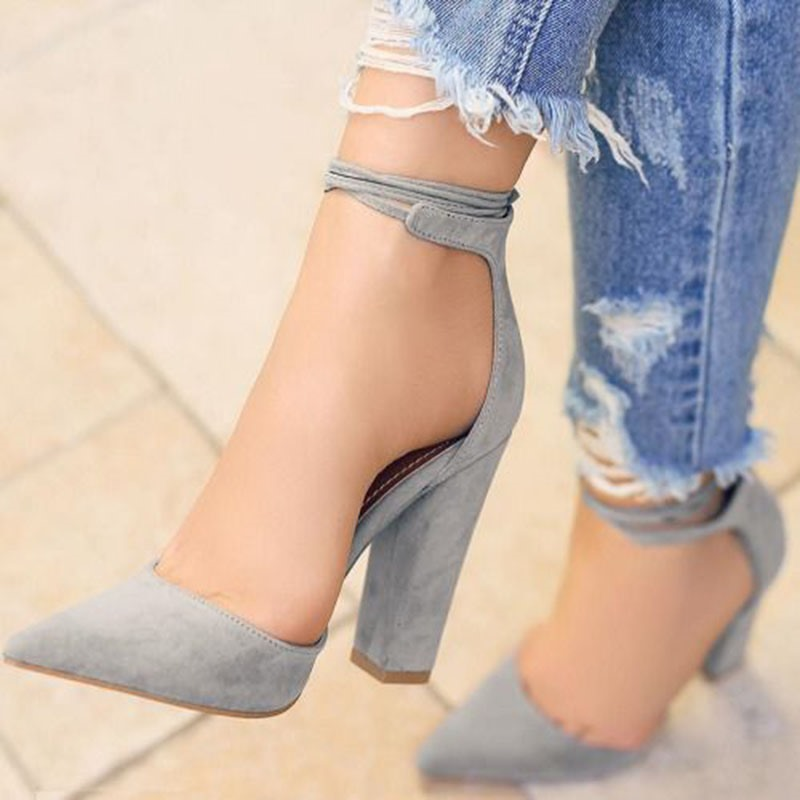 Ericdress Point Toe Ankle Strap Chunky Sandals