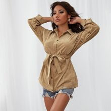 Button Front Belted Coat