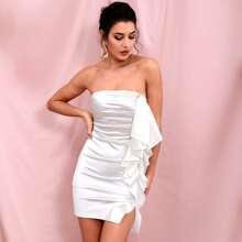 Exaggerated Ruffle Satin Tube Dress