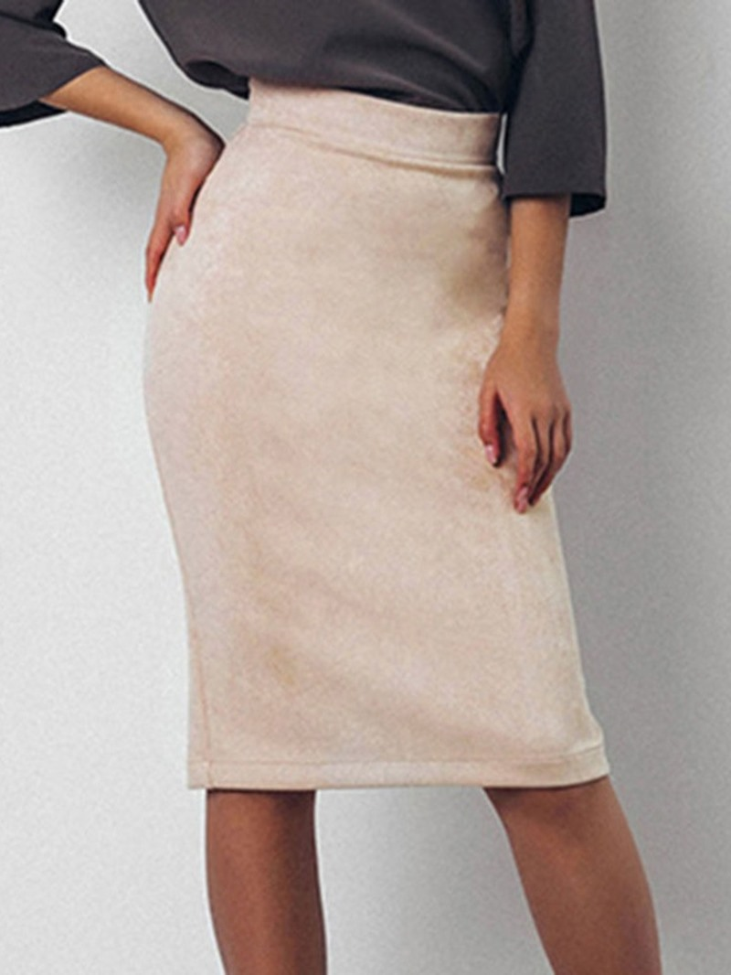 Ericdress Bodycon Plain Knee-Length Casual Skirt