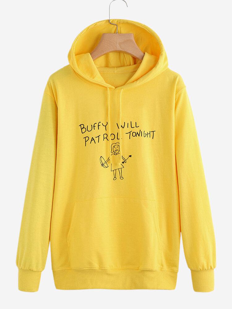 Print Little Girl Long Sleeve Hooded Sweatshirt