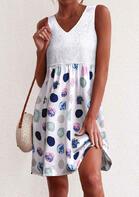 Lace Splicing Polka Dot Mini Dress - White
