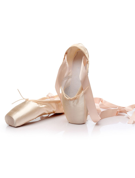 Milanoo Professional Ballet Dance Shoes Satin Lace Up Salmon Ballet Pointe Shoes