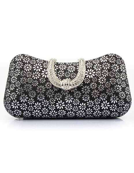 Milanoo Wedding Clutch Bags Gold Sequined Rhinestones Floral Print Pillow Shaped Bridal Evening Bags With Detachable Chain