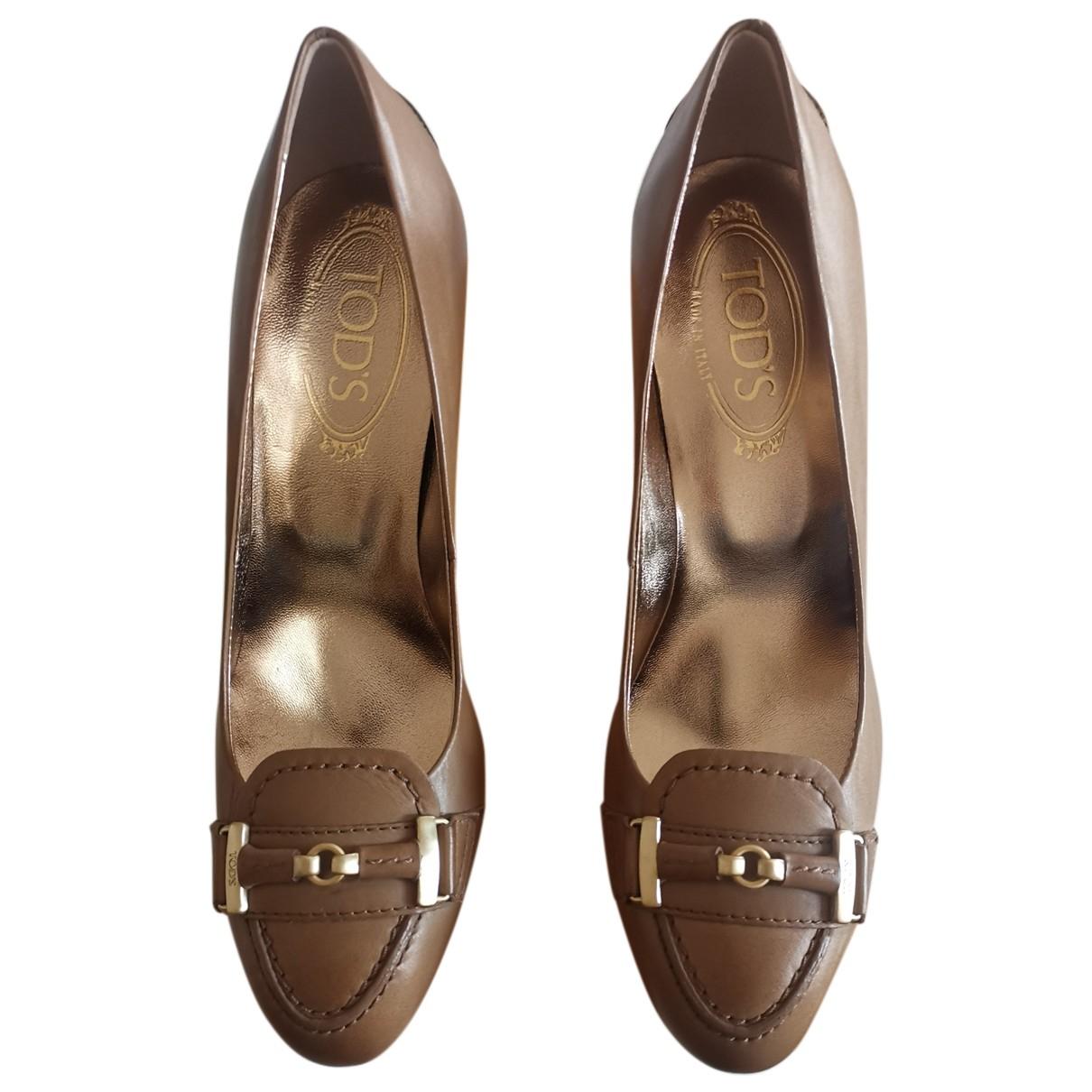 Tod's N Beige Leather Heels for Women 37.5 EU