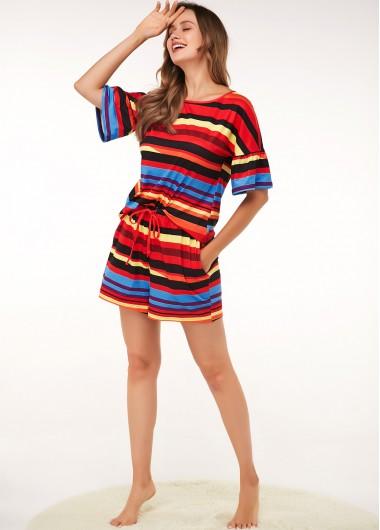 Stripe Print Drawstring Waist Short Sleeve Lounge Top and Shorts - 16