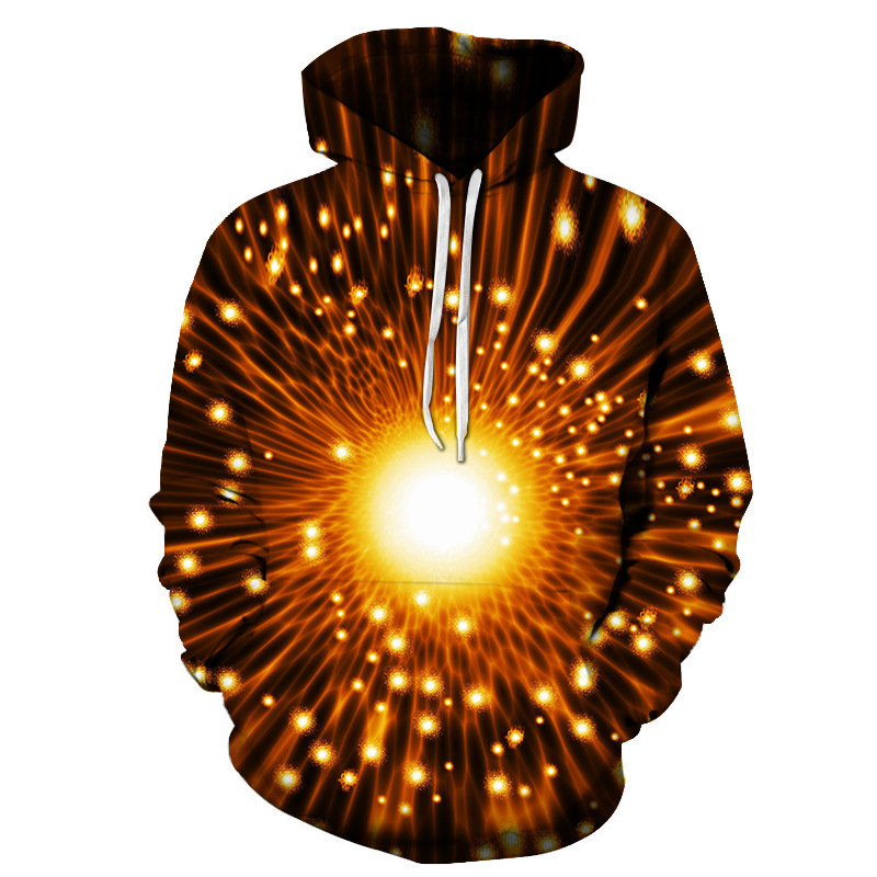 3D Firefly Starlight Pullover Garment Dyed Spring Men's Hoodies Quick-drying Fabric Absolutely Wrinkle-free Integrated Printing Without Ever Fading Cr