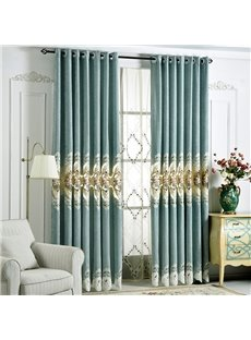 European Fancy Chenille and Environment-friendly Cotton Embroidery Thick Blackout Grommet Curtains