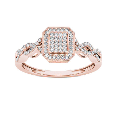 1/5 CT. T.W. Diamond 10K Rose Gold Engagement Ring, 9 , No Color Family