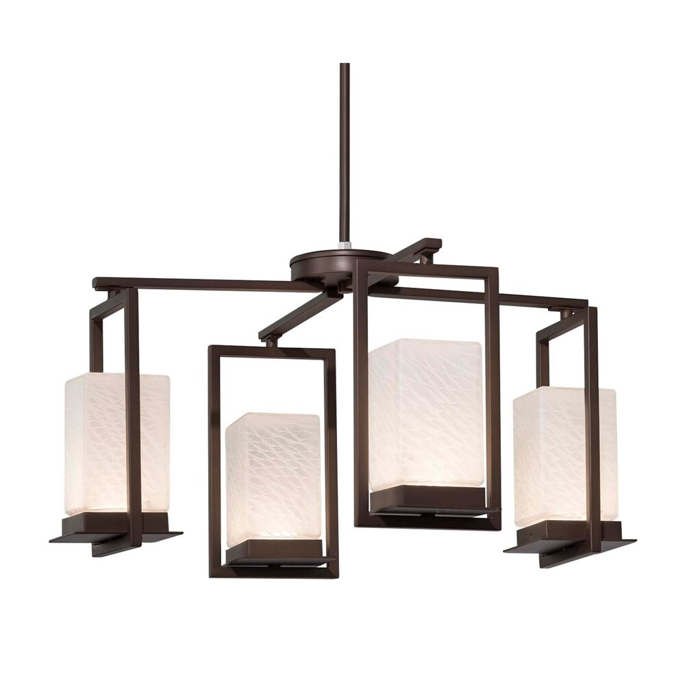 Justice Design Fusion Laguna 4-light Dark Bronze LED Outdoor Chandelier, Weave Shade