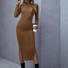 Split Hem Solid Rib-knit Dress