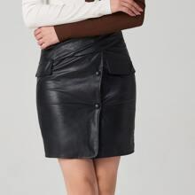Zipper Side Flap & Ruched Detail PU Skirt