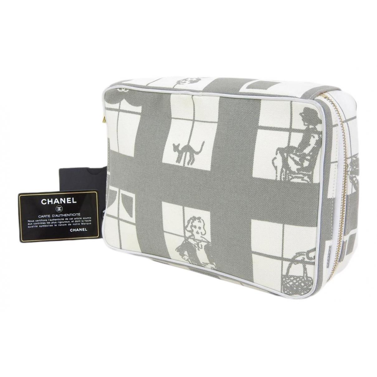 Chanel - Sac de voyage   pour femme en toile - gris