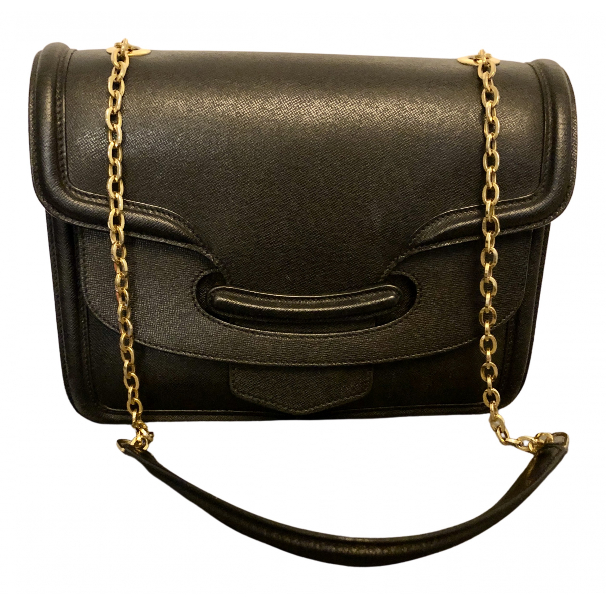 Alexander Mcqueen Heroine Chain Handtasche in  Schwarz Leder