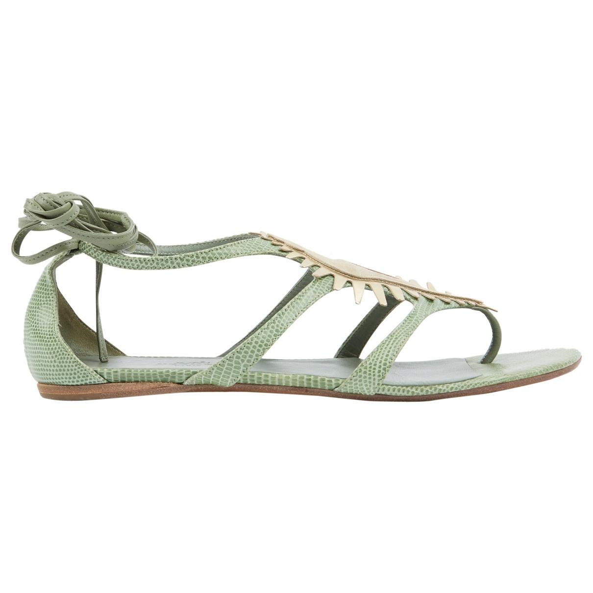 Hermès \N Green Leather Sandals for Women 38 EU