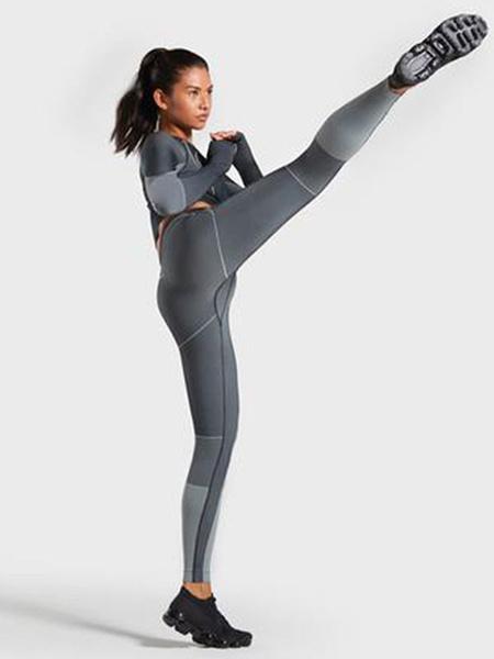 Milanoo Conjunto de dos piezas de entrenamiento Conjunto de ropa de gimnasia deportiva de rayas de nylon