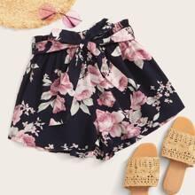 Shorts mit Blumen Muster, Guertel und Papiertaschen auf Taille