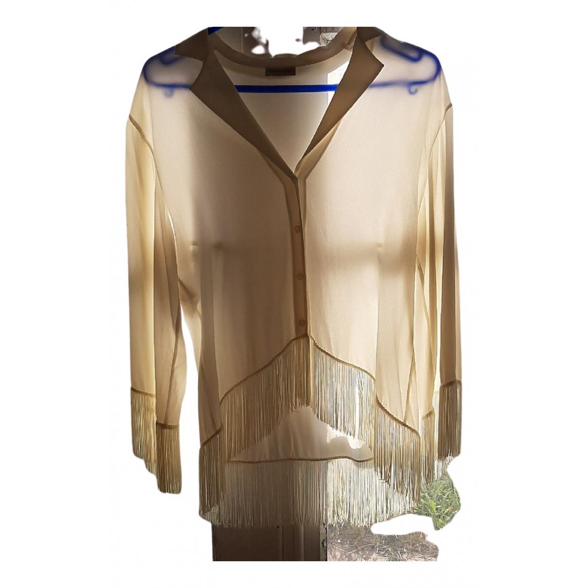 Emporio Armani - Top   pour femme en soie - ecru