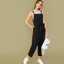 Pocket Side Belted Overall Jumpsuit