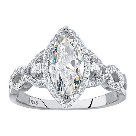 Womens 2 1/2 CT. T.W. White Cubic Zirconia Sterling Silver Engagement Ring, 6 , No Color Family