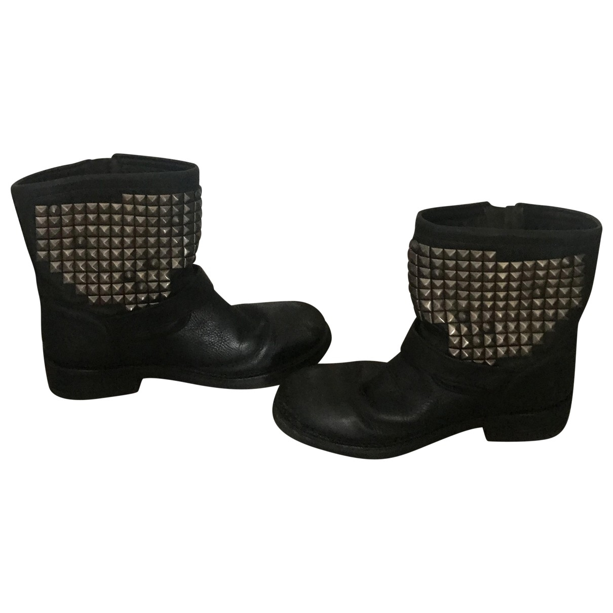 Ash \N Black Leather Ankle boots for Women 39 EU