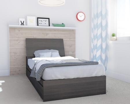 400971 Allure 2 Piece Twin Size Storage Bed Set with Storage Platform Bed + Headboard  in Ebony