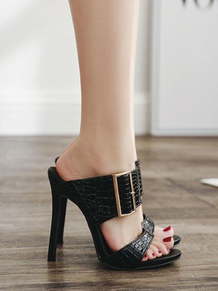 Milanoo High Heel Sandals Black Open Toe Buckle Detail Sandal Slippers For Women