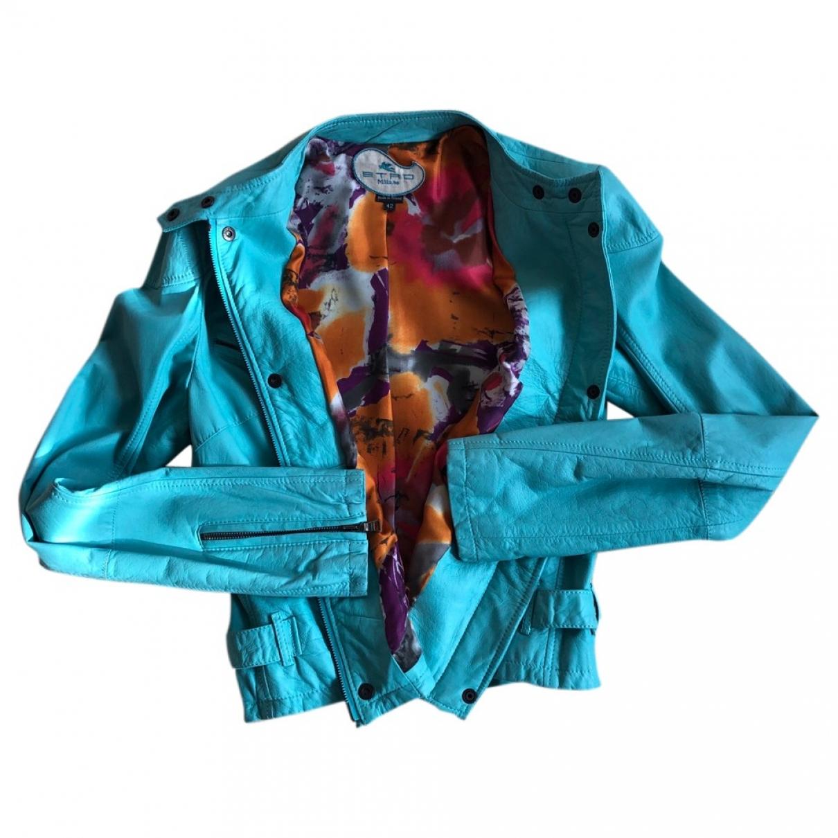 Etro \N Jacke in  Blau Leder
