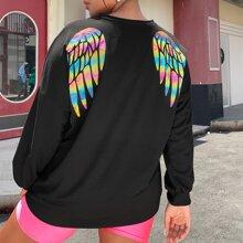 Sweatshirt mit Batik und Fluegel Muster