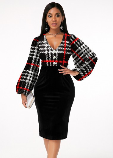 Black Dresses Plaid V Neck Lantern Sleeve Dress - S
