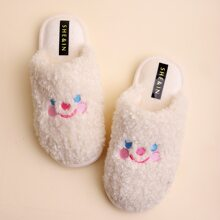 Round Toe Embroidered Fluffy Slippers