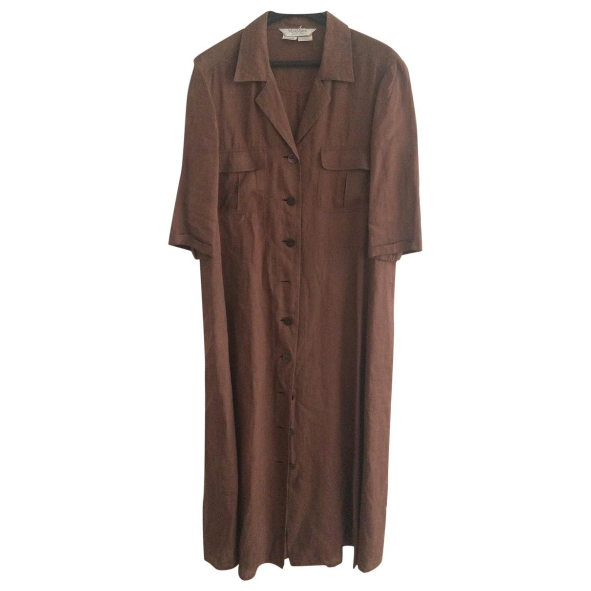 Max Mara \N Brown Linen dress for Women 46 IT