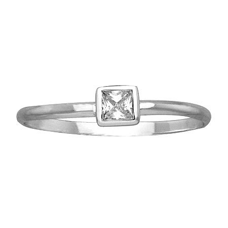 Itsy Bitsy Womens Clear Sterling Silver Square Stackable Ring, 7 , No Color Family
