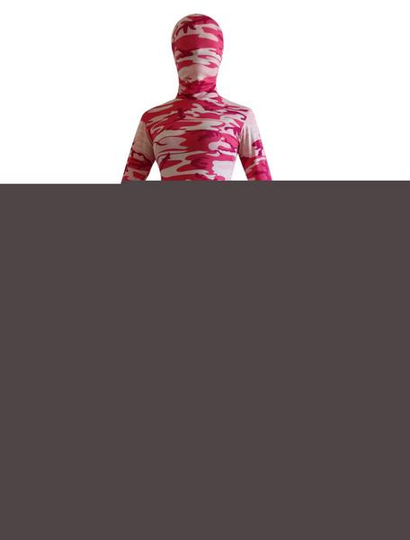 Milanoo Pink Camouflage Zentai Suit Full Body Lycra Spandex Bodysuit for Women