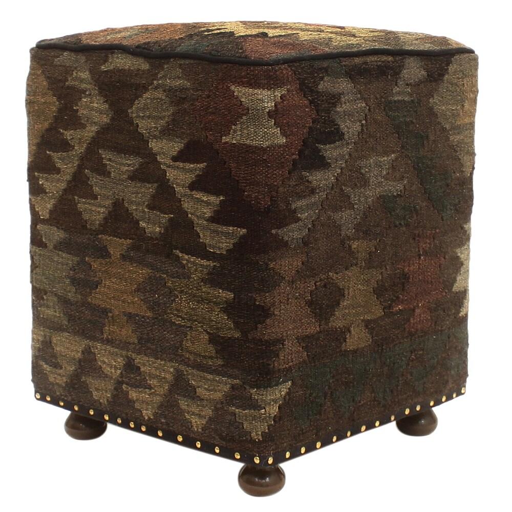 Tribal Sondra Handmade Kilim Upholstered Ottoman (16