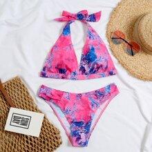 Dreieckiger Bikini Badeanzug mit Batik und Neckholder