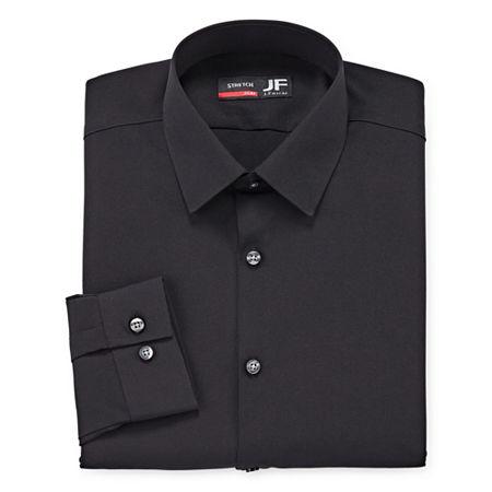JF J.Ferrar Mens 4-Way Stretch Performance Long Sleeve Dress Shirt - Slim, 18-18.5 34-35, Black