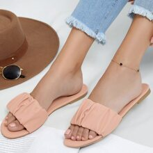 Ruched Faux Leather Slide Sandals