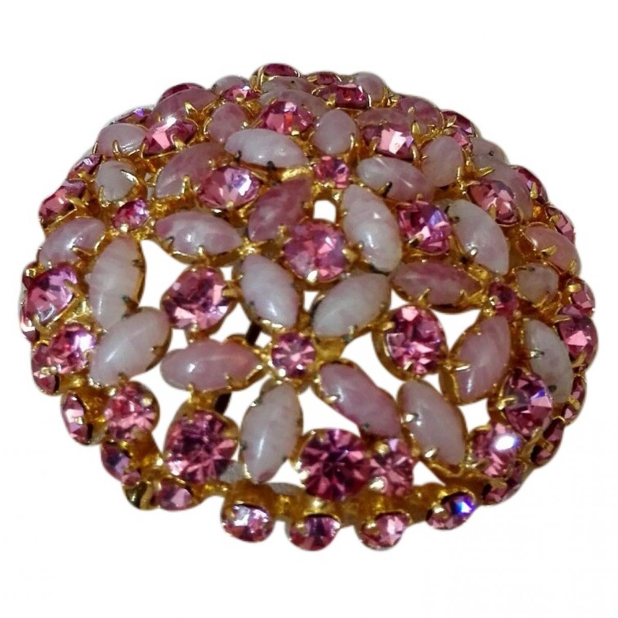 Non Signe / Unsigned \N Brosche in  Rosa Metall
