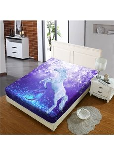 Purple Leaping Unicorn Reactive Printing 1-Piece Polyester Bed Cover / Mattress Cover