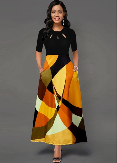 Cocktail Party Dress Cutout Neck Geometric Print Side Pocket Maxi Dress - XS