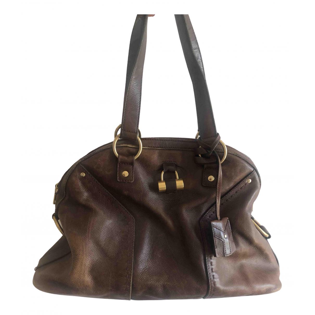 Yves Saint Laurent Muse Handtasche in  Braun Leder