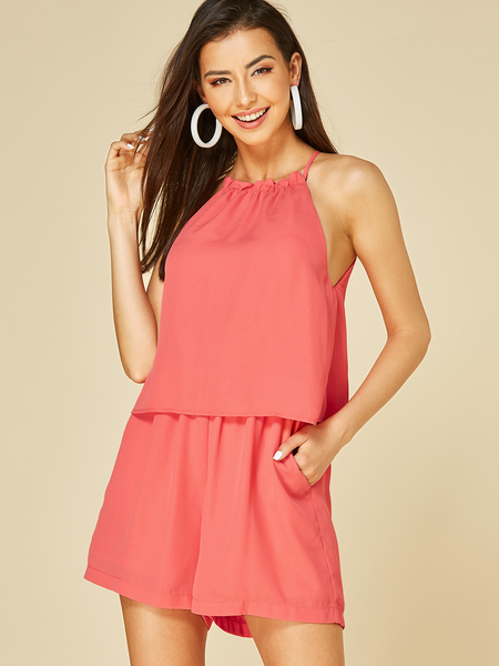 YOINS Watermelon Red Cut Out Halter Sleeveless Playsuit